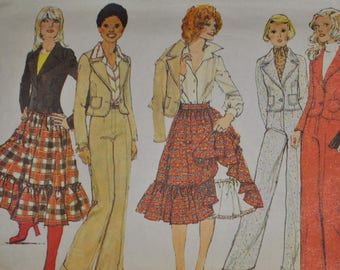 Vintage 1970s Simplicity 6481 Sewing Pattern, Gathered Skirt, Wide Legged Pants, Suit, Size 10, Bust 32, Jacket, Pant Suit