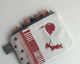 Girl-balloon print, quilted, zippered pouch, pencil case, essentials pouch.