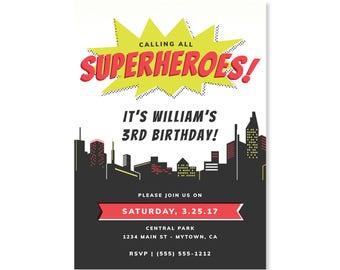 Printed Invitations - Superhero