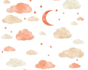 Watercolor Cloud, Moon and Stars Wall Decals - Cloud Watercolor Fabric Wall Decals