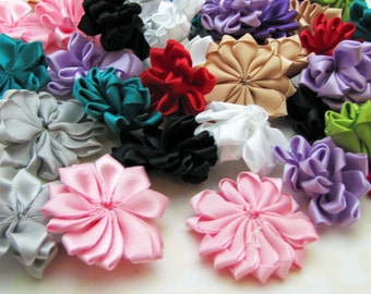 20 Satin Ribbon Flowers - Mixed Color  - ribbon flower, hair clip embellishment - reynaredsupplies