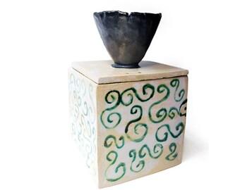 handmade ceramic box, jar, lidded box, pottery, lidded container