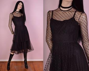 70s Polka Dot Mesh Dress/ US 8/ 1970s/ Vintage/ Long Sleeve/ Party