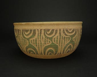 Vintage MCM Stoneware Planter / Pot With Incised Tribal Pattern Signed Circa 1960's