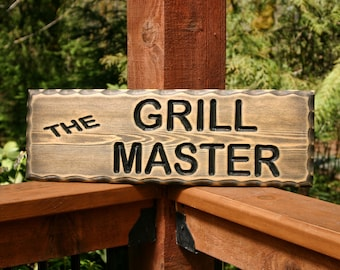 BBQ Sign, Tiki Bar Decor, Rustic Home Decor, Husband Gift, Carved Wood, Grilling Gift, Grill Master, Man Cave