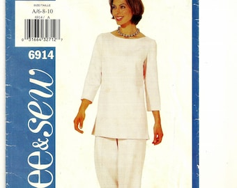 "A Pullover, 3/4 Sleeve Tunic Top and Straight Leg Pants Pattern for Women: Uncut - Sizes 6-8-10, Bust 30-1/2"" - 32-1/2"" ~ See & Sew 6914"
