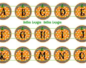 Pumpkin Initials, Alphabet, Boo, Fall, 1 inch circles, Chevron, Polka dots, Bottle Cap Images,Crafts, supplies