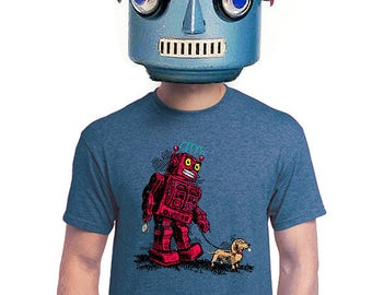 robot t-shirt, Geeky robot t-shirt, funny robot, vintage robot, dog tshirt, for dog person, pet lover, weenie dog, quirky graphic tee, s-4xl