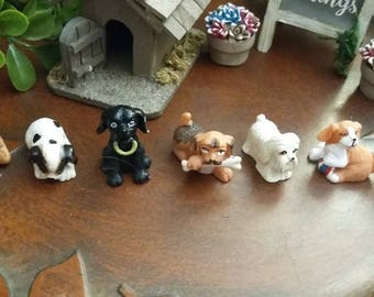 Fairy Garden Miniature Resin DOGS for Fairy Garden, Miniature Dog House, Miniature Dog, Doll House Size Dogs, Your Choice