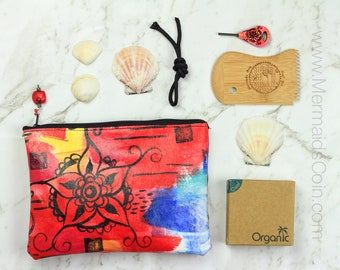 The Surfer Survival Kit - surf gift for Mothers' Day - Hand painted surfboard key, zipper pouch, bamboo wax comb