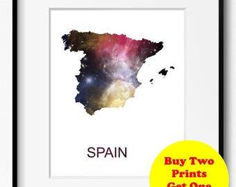 Spain Watercolor Stars Map Art Print (519) Europe