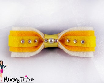 Fashionable Yellow Bow Tie with Pearls, Yellow Tie