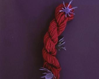 Deep Red Hand Spun Merino Wool Single Ply