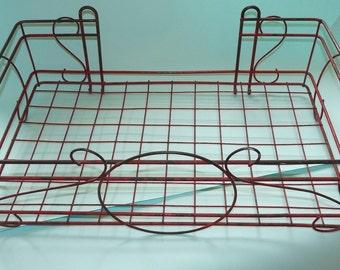 Vintage Red Wirework Baker's Rack
