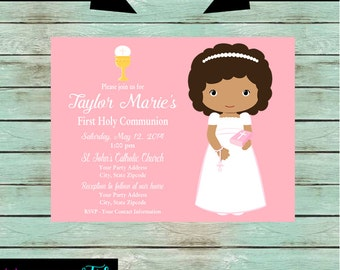 First Holy Communion Girl Party Invitations Invites Personalized Custom ~ We Print and Mail to You