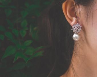 Bridal Earrings, Ivory Pearl Earrings, Crystal Wedding Earrings, Wedding Earrings, Bridal Jewelry
