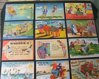 Lot Of 50 1950's Linen Comic Postcards.