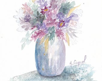 Purple bouquet - original watercolor painting