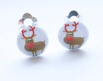 Comedy Reindeer stud earrings