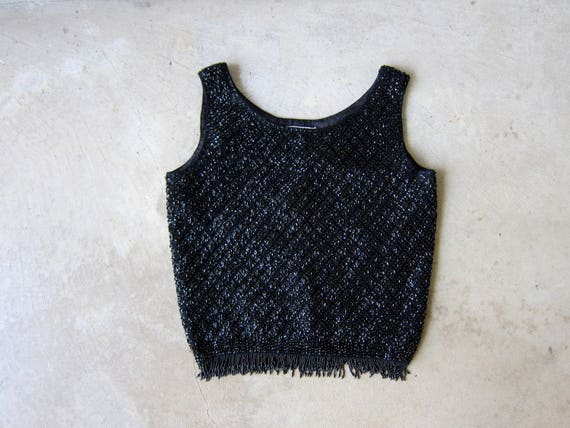 50s Couture Tank Top Black Beaded Wool Sleeveless Sweater Top Heavyweight Wool Knit Sequins Top Fringe Holiday Party Blouse Womens 38 Medium
