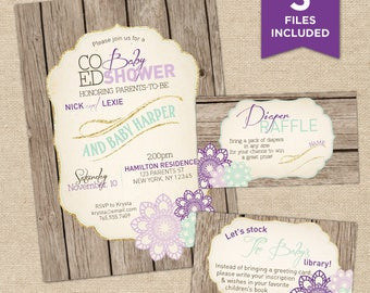 Baby Girl Shower Invitation, Invitation Kit, Co-ed Shower Kit, Fall, Rustic Baby Shower Invite, Purple, Mint, Gold, Lilac Party Kit, Floral