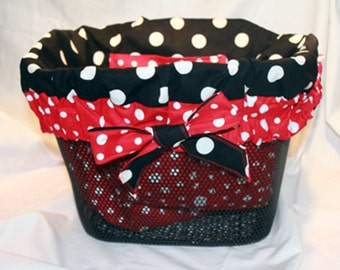 Red and White polka dot and Black and White polka dot Bicycle Basket Liner  for Bell Mesh, Wire or Wicker Cruiser Bike Baskets