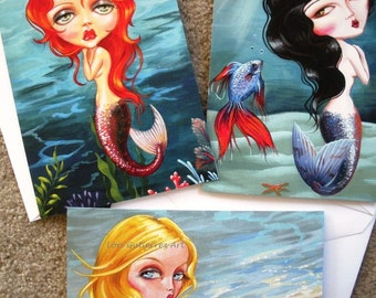Mermaid Greeting Cards - Lovely Mermaid Vixens, Box of 6, Gorgeous and Fun!