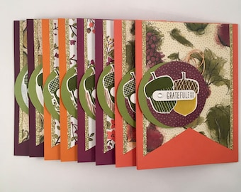 Fall/Nature/Farmers Market Themed Thank You Cards, Set/8
