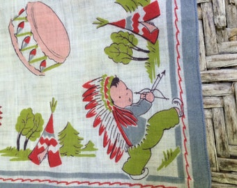 Indian boy handkerchief,Indian brave handkerchief,cowboy and Indian birthday,cowboy and Indian nursery,cowboy and Indian decor,