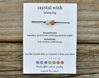 Moonstone Wish Bracelet, Sunstone, Hemp, Luck, Good Fortune, Crystal Healing, Meditation, Yoga, Minimalist, Intent Bracelet, Wish Bracelet