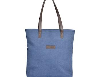 Denim Tote - Denim Bag, Denim Tote with Leather Handles, Tote Bag, Shopping Bag, Women's Denim Bag, Gym Bag, Denim Shopper, Blue Denim Bag,