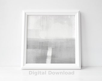 White and Grey Wall Art for Instant Digital Download - Square Printable Wall Art - Grey Abstract Art - Minimalist Painting