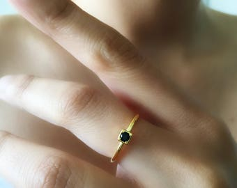 Black cz Ring.Dainty Adjustable Ring. stacking Ring.Gold Vermeil Ring.Minimalist Ring.Square Black Cz Ring.Black Onyx