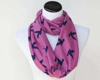 Bird infinity scarf seagull radiant orchid purple birds soft jersey knit scarf for women and teenage girl - loop scarf snood scarf