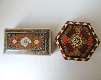 Spanish Marquetry Box and Persian Inlaid Box Lot of 2