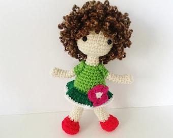 Crochet Doll / Amigurumi Stuffed Girl Doll Toy / Green