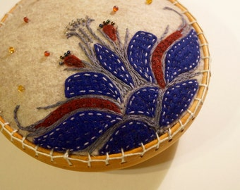 Large Flower Embroidered Pincushion Ready to Ship