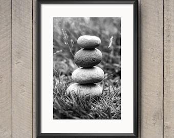 Stones, Chobham Common, England, black and white, Photograph, Print, Wall Art, Decor, Fine Art Photography, peaceful, meditation