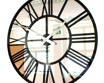 Roco Verre Gloss Acrylic and Mirror Skeleton Wall Clock