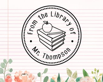 From the library of stamp, Book Stamp, Personalized Book Stamp, Custom Library Stamp, Library Stamps, this book belongs to, teacher stamps