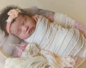 Cream Blush Gold Ruffle Stretch Fabric Wrap Newborn Photography Prop Posing Swaddle