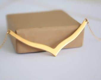 Gold chevron necklace, chevron gold necklace, gold filled chevron necklace, gold v shape , triangle necklace, geometric necklace