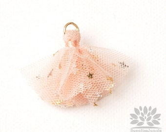 T024-PE// Gold Jumpring Star Pointed Peach Mesh Fabric Tassel Pendant, 4pcs