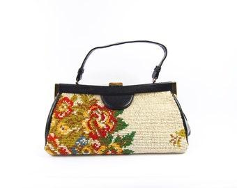 60s Needlepoint Handbag - 1960s Carpet Bag - Floral Print and Black Vinyl Rectangular Long Purse by Margolin Fabric Tapestry