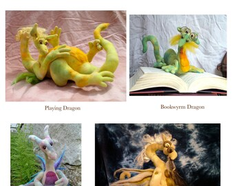 Collection of the four best selling dragon patterns, plus a new one, Playing Dragon, delivered as digital downloads
