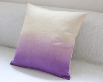 Purple Dip Dye Cushion Cover / Ombre Pillow Cover - Hand Dyed