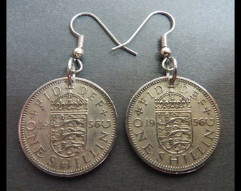 Classic Antique (1956 Vintage Matching Elizabeth II, England One Shilling Coin Earrings w/ Stainless Steel Hooks) SteamPunk Goth Hardware...