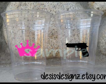 24 Guns or Glitter vinyl decals glitter party Birthday party decoration gun decal birthday party vinyl cup sticker party cup sticker glitter