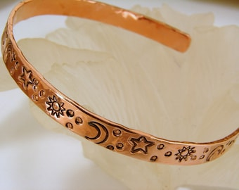 Copper Bracelet with Hand Stamped Sun Moon and Stars. Celestial Jewelry