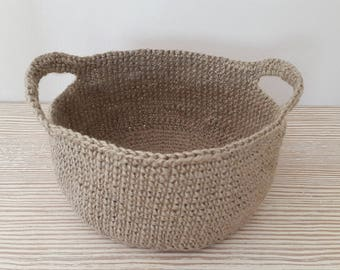 Handmade Crochet Jute Storage Basket, Decorative Storage, Jute Basket, Dekorative Jute Korb